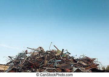 recycling center - pile of scrap metal at recycling center,...