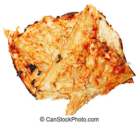 Pile of Scraped off Pizza Crust for Gluten Allergies or Low Carb Diet Over White.