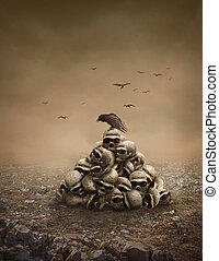 Pile of sculls - Crow sitting on a pile of sculls