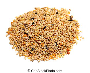 Pile of seed mixture isolated on white background. Pet food...