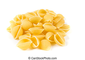 Pile of shell pasta isolated on a white background