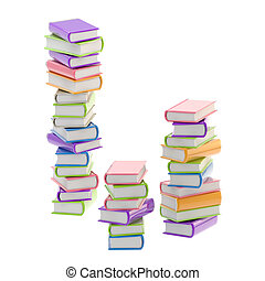 Pile of shiny colorful books, isolated