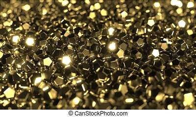 Pile of shiny golden crystals - Multiple shiny golden...