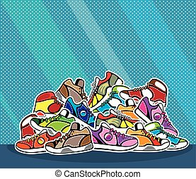 Pile of shoes pop art