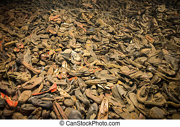 Pile of shoes from the people who were killed by nazis in...