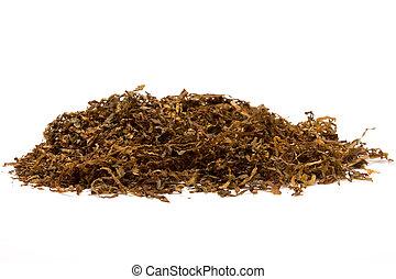 Pile of shredded cigarette Tobacco against white backdrop.