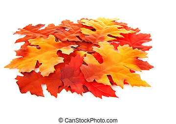 pile of silk colorful autumn leaves in closeup