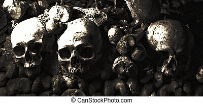 A pile of skulls and bones in black and white