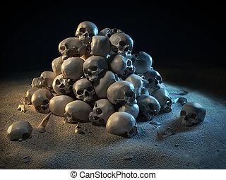 pile of skulls in the dark 3d illustration