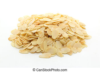 Pile of sliced almonds on white background