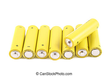 pile of small batteries - batteries showing the positive and...