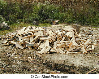 Pile of small logs