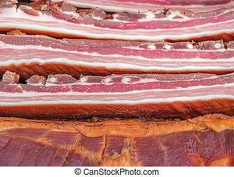 Pile of smoked bacon