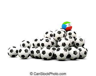 Pile of soccer balls with flag of equatorial guinea