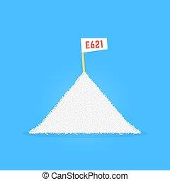 pile of sodium glutamate like e 621. concept of umame, junk,...