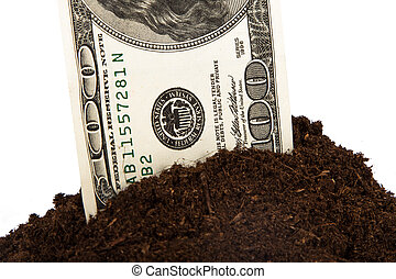 Pile of Soil and Dollar Bill