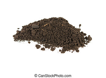 pile of soil, earth on white background