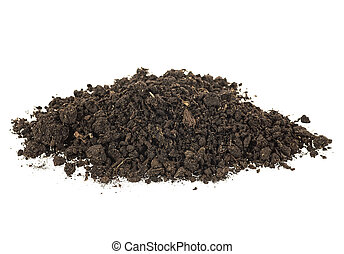 Pile of soil for plant isolated on a white background