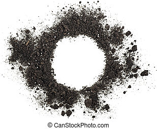 Pile of soil isolated on white background, top view.