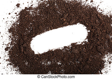 Pile of soil isolated on white background with copy space for your text, top view