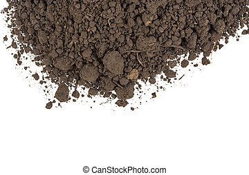 pile of soil on a white background