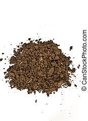 pile of soil on white background