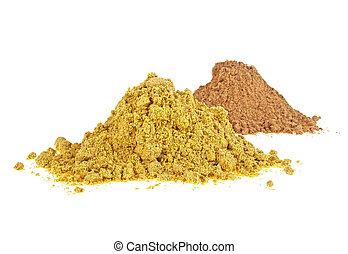 Pile of spices on a white background