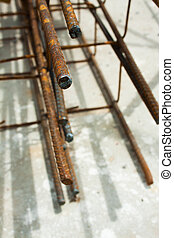 Pile of steel rods for construction