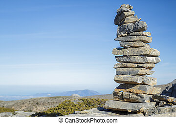 Pile of stone at the mountain