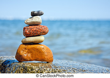 Pile of stones, inner calm of feng shui - Five natural...
