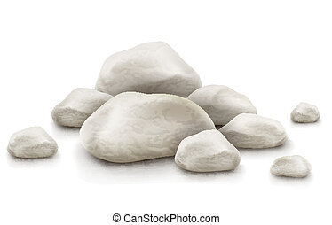 pile of stones isolated on white background - pile of stone...