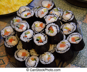pile of sushi on the plate