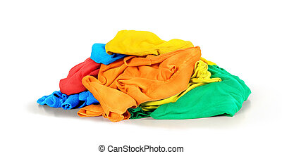 Pile of t-shirts isolated on white background