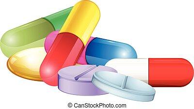 Pile of tablets and pellets illustration