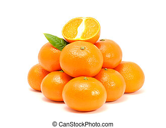 Pile of Tangerines - A pile of tangerines with a green leaf...