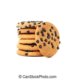 Pile of tasty cookies isolated on white background