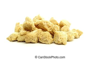 Pile of Textured Soy Protein (Soy Meat) Isolated on White...