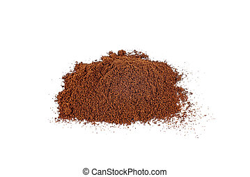 Pile of the ground coffee isolated on white background