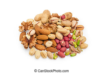 Pile of the various nuts on a white background
