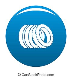 Pile of tire icon blue