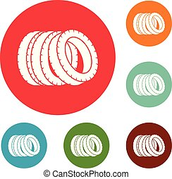 Pile of tire icons circle set vector