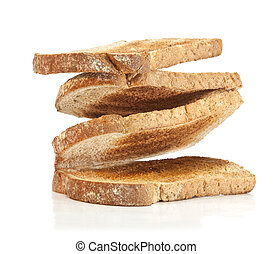 Pile of toast bread on white