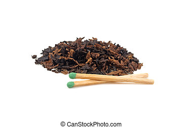 pile of tobacco and matches isolated on white background
