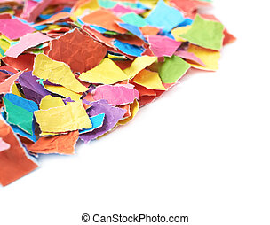 Pile of torn paper pieces isolated