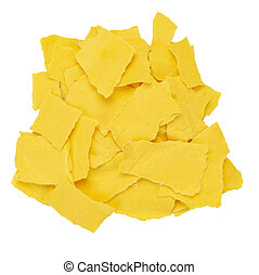 Pile of torn yellow paper isolated white background.