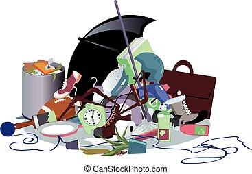 Pile of household trash, EPS 8 vector illustration, no transparencies