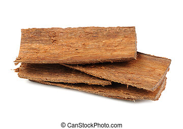 Pile of Tree Bark Pieces Isolated on White Background