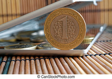 Pile of Turkish coins with a denomination of 1 lira in mirror reflect wallet lies on wooden bamboo table background