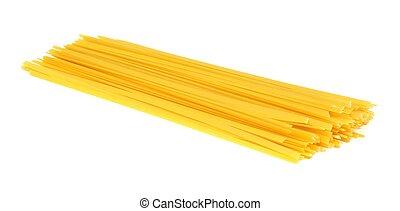 Pile of uncooked dry fettuccine pasta isolated on a white background