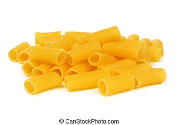 Pile of uncooked dry rigatoni pasta isolated on a white background